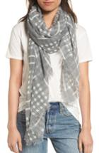 Women's Bp. Crinkled Check Print Scarf, Size - Grey
