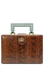 Gucci Broadway Genuine Snakeskin Box Clutch - Brown