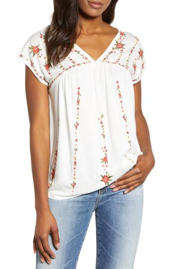 Women's Lucky Brand Embroidered Knit Top - White