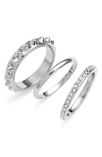 Women's Rebecca Minkoff 'jewel Box' Stackable Rings - Silver/ Crystal (set Of