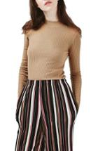 Women's Topshop Textured Stripe Mock Neck Sweater
