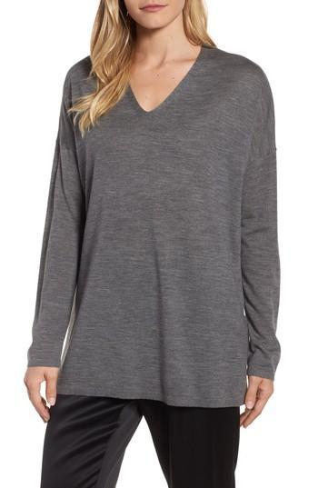 Petite Women's Eileen Fisher Merino Wool Tunic Sweater, Size P - Grey