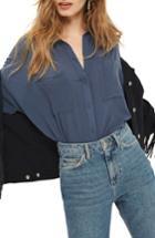 Women's Topshop Joey Shirt Us (fits Like 2-4) - Grey