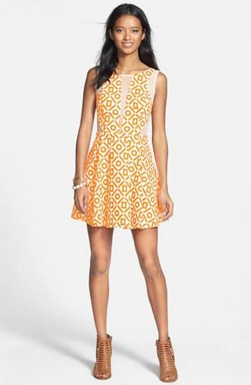 En Creme Mesh Inset Print Skater Dress (juniors) Neon Orange