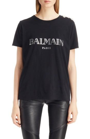 Women's Balmain Button Shoulder Logo Tee Us / 38 Fr - Black