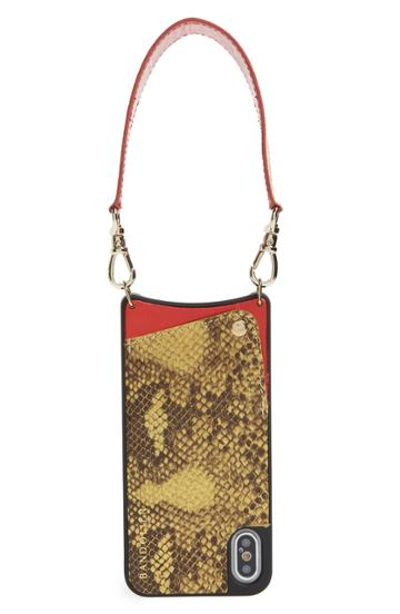 Bandolier Angie Snake Print Faux Leather Iphone X/xs Wristlet Case - Yellow