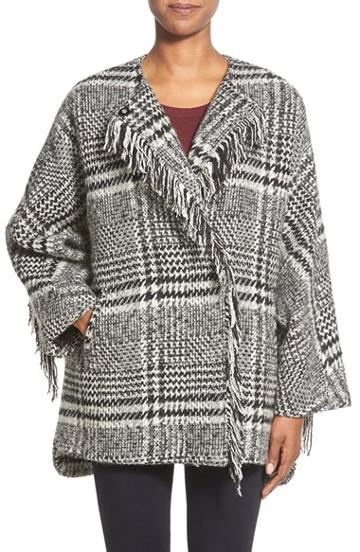 Women's Bernardo Fringe Trim Glen Plaid Poncho