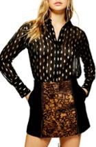Women's Topshop Gold Leaf Shirt Us (fits Like 0) - Black