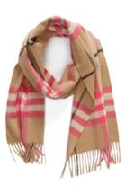 Women's Burberry Fluro Giant Check Cashmere Scarf, Size - Pink