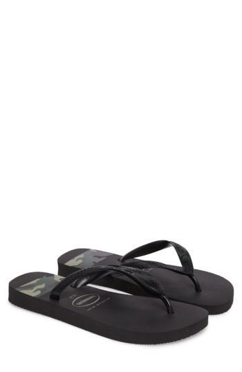 Men's Havaianas Top Stripes Flip Flop /8 M - Black