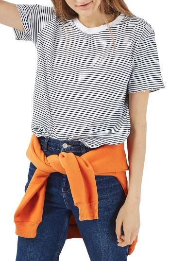 Petite Women's Topshop Nibbled Breton Stripe Tee P Us (fits Like 0p) - Blue