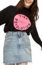 Women's Topshop Pink Revolution Sweater Us (fits Like 0) - Black