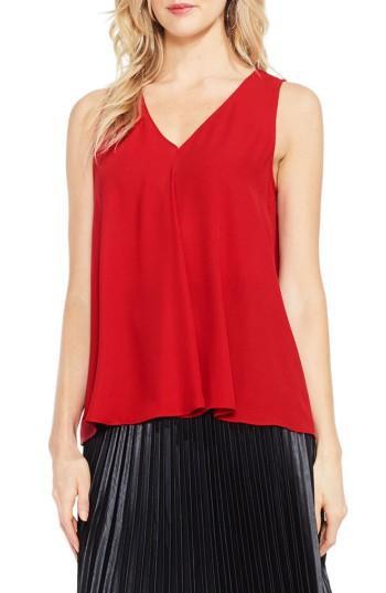 Petite Women's Vince Camuto Drape Front V-neck Sleeveless Blouse P - Red