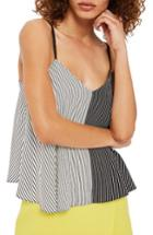 Women's Topshop Mixed Stripe Camisole Us (fits Like 0) - Black