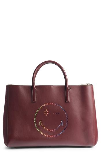Anya Hindmarch Ebury Rainbow Smiley Leather Tote - Burgundy