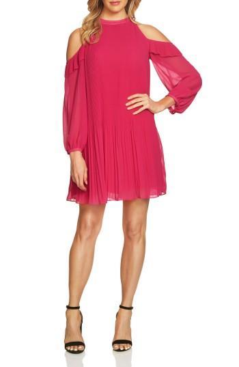 Petite Women's Cece Noelle Cold Shoulder Chiffon Trapeze Dress P - Red
