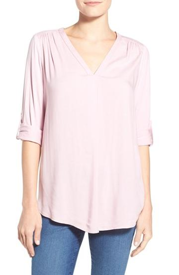 Women's Pleione Mixed Media V-neck Tunic, Size Medium - Purple (nordstrom