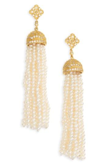 Women's Freida Rothman Audrey Waterfall Tassel Pearl Earrings
