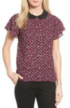 Women's Cece Contrast Collar Print Blouse - Red