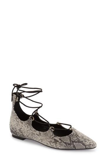 Women's Topshop 'fancy' Pointy Toe Ghillie Flat .5us / 36eu - Grey