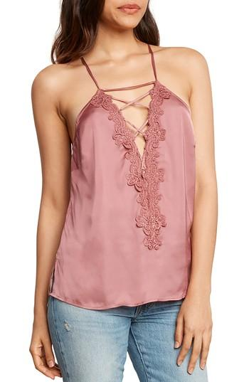 Women's Willow & Clay Lace-up Satin Camisole - Pink