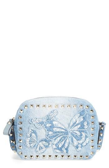 Valentino Rockstud Camera Denim Crossbody Bag -