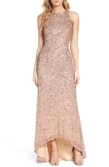 Petite Women's Adrianna Papell Sequin High/low Gown P - Pink
