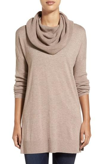 Women's Caslon Side Slit Cowl Neck Tunic, Size X-large -