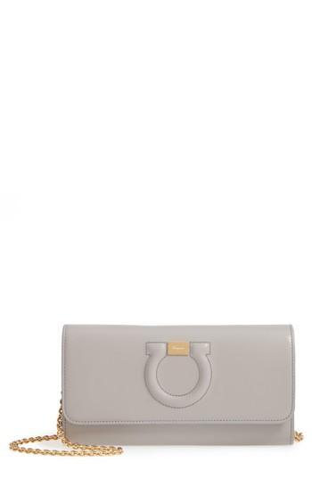 Women's Salvatore Ferragamo Quilted Gancio Leather Wallet On A Chain - Grey