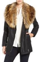 Women's Love Token Faux Leather Jacket With Faux Fur Collar