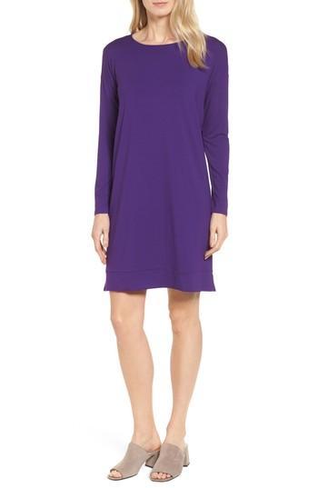 Petite Women's Eileen Fisher Long Sleeve Jersey Shift Dress P - Purple