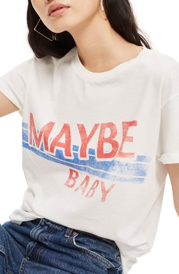 Women's Topshop Maybe Baby Cotton Tee Us (fits Like 0) - White