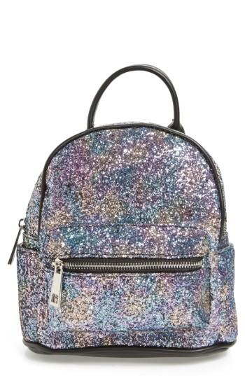 Street Level Glitter Zip Backpack - Metallic