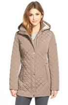 Women's Calvin Klein Hooded Quilted Jacket - Brown