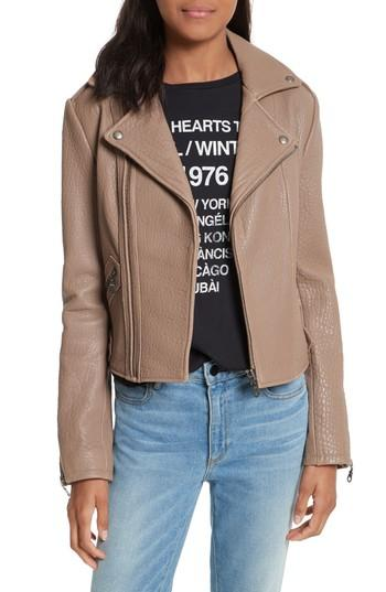 Women's Rebecca Minkoff Wolf Leather Moto Jacket - Grey