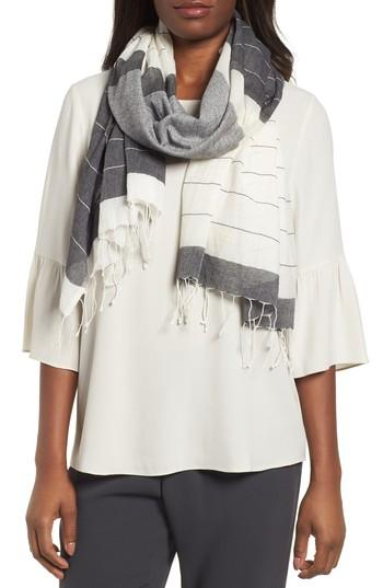 Women's Eileen Fisher Colorblock Organic Cotton Scarf, Size - Black