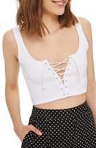 Women's Topshop Lace Up Bralette Us (fits Like 0) - White