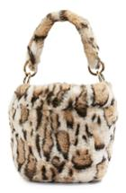 Topshop Teddy Faux Fur Bucket Bag - Brown