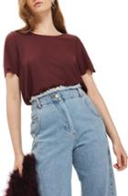 Women's Topshop Scallop Hem Tee Us (fits Like 0) - Burgundy