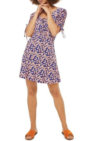 Petite Women's Topshop Daisy Frill Tea Dress P Us (fits Like 0p) - Blue