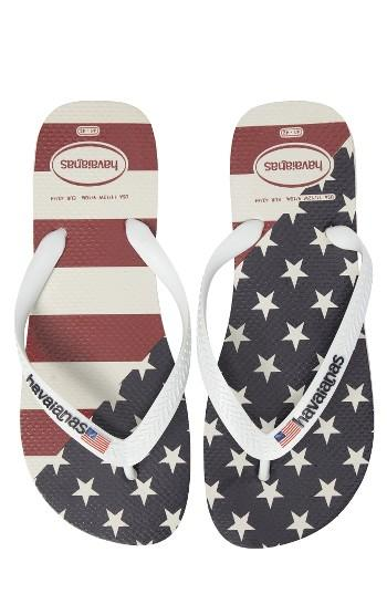 Men's Havaianas Top Mix Usa Flag Flip Flop /8 M - White