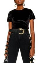Women's Topshop Velvet Crop Top Us (fits Like 0) - Black