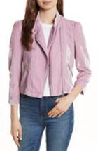 Women's Rebecca Taylor Velvet Moto Jacket - Pink