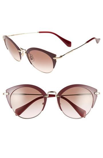 Women's Miu Miu 52mm Cat Eye Sunglasses - Amaranth/ Pale Gold