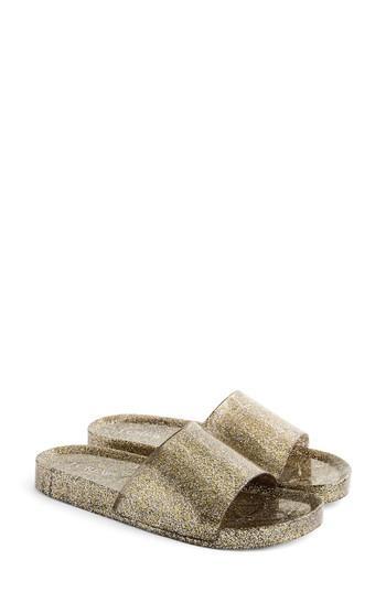 Women's J.crew Glitter Slide Sandal M - Metallic
