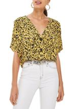 Women's Topshop Pleat Shoulder Blouse Us (fits Like 0) - Yellow