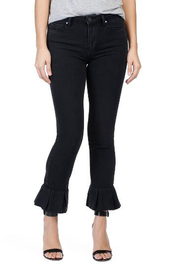 Women's Paige Rafaela Ruffle Hem High Waist Ankle Skinny Jeans - Black