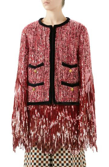 Women's Gucci Sequin Tweed Jacket Us / 42 It - Pink