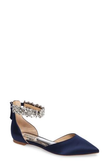 23cee61323ab Women s Badgley Mischka Morgen Ankle Strap Flat M - Blue