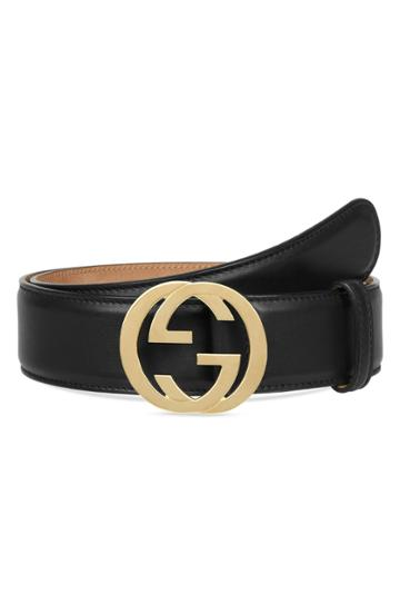 Women's Gucci Interlocking-g Leather Belt - Nero